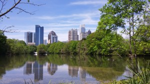 Piedmont Park's Lake Clara Meer with Midtown Atlanta Skyline